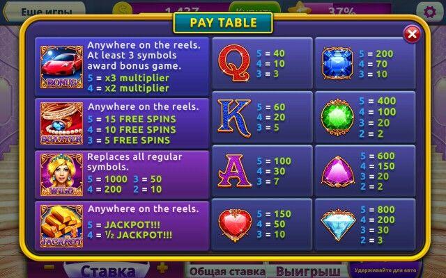 Diamonds Casino. Paytable. Infiapps Ltd