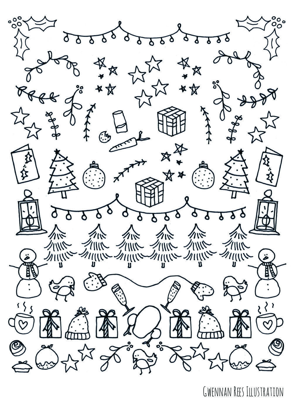 photograph relating to Doodle Art Printable named Kumpulan Xmas Doodle Artwork Printable Doodlegaleri
