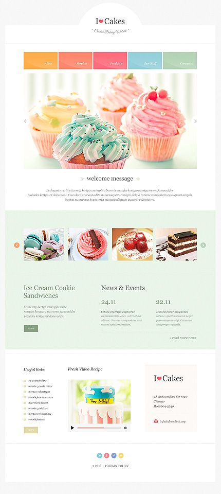 i love cupcakes flat cupcakes website website design page