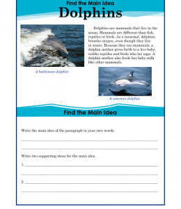 5th Grade Main Idea Worksheet About Dolphins | About dolphins ...