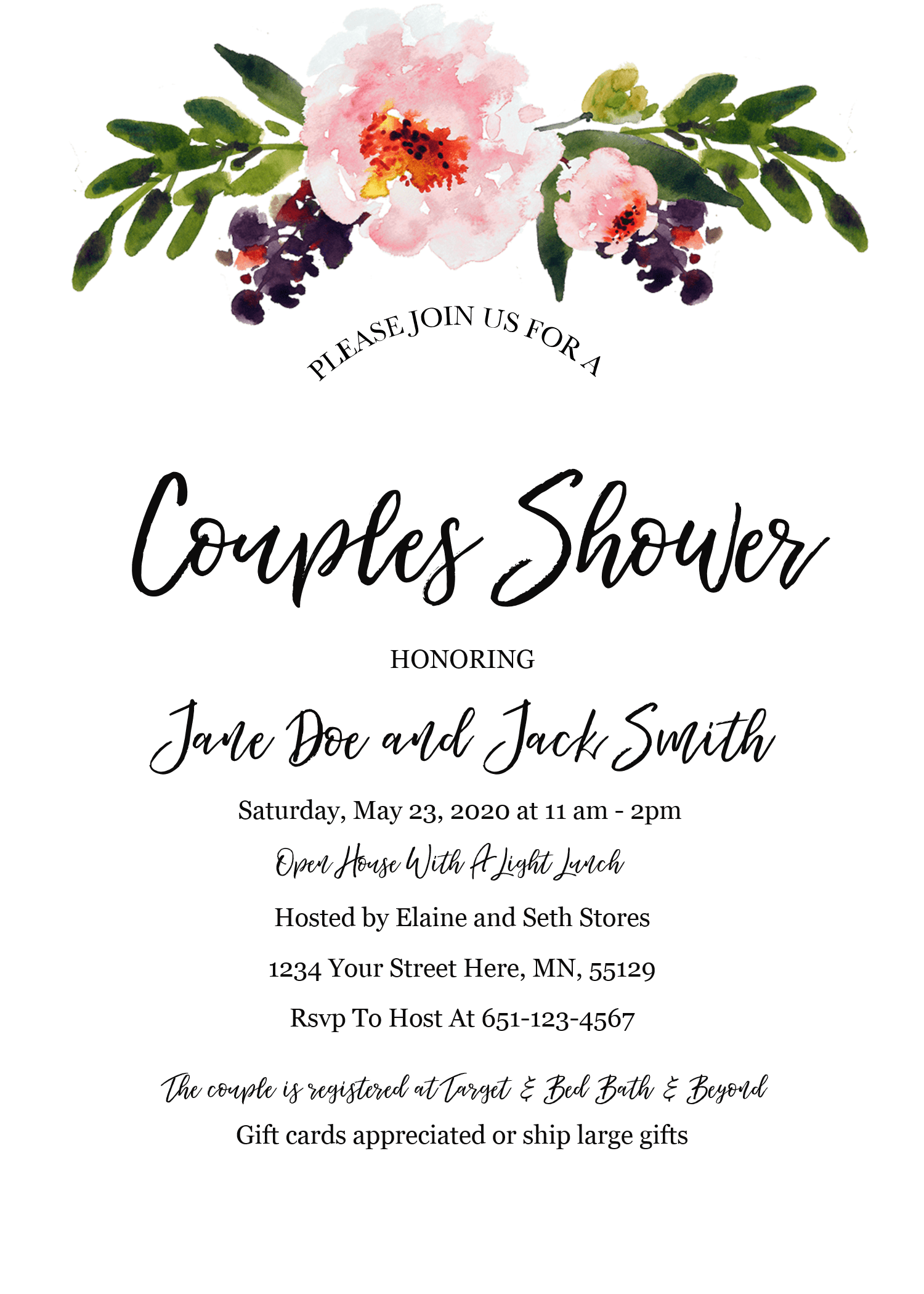 A Laid Back Open House Couples Shower This Grateful Mama Bridal Shower Invitations Free Bridal Shower Invitations Templates Bridal Shower Invitations Printable