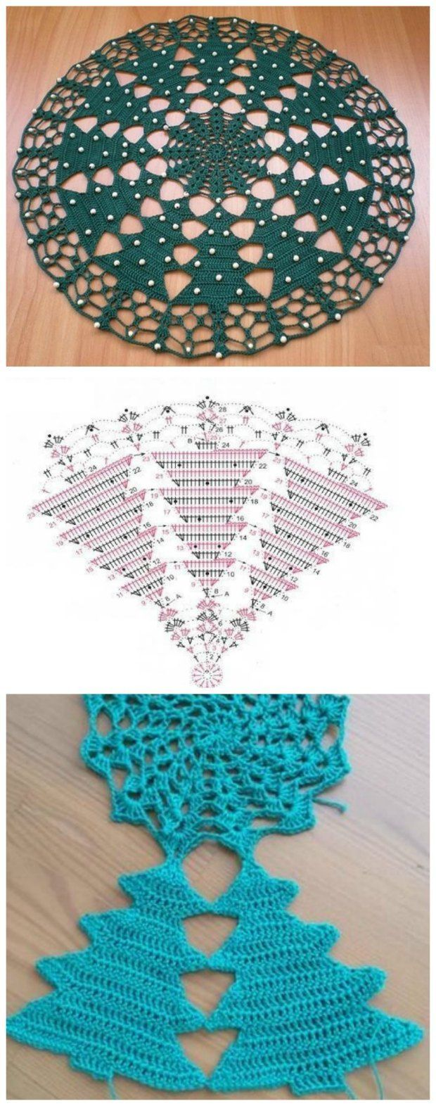 Crochet A Christmas Tree Doily Advanced Pattern Diagram Only No Written Instructions