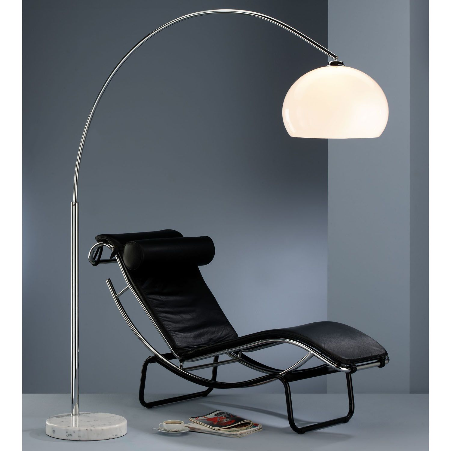 Awesome Arc Lamp With White Glass Lampshde And Black Leather Lounge