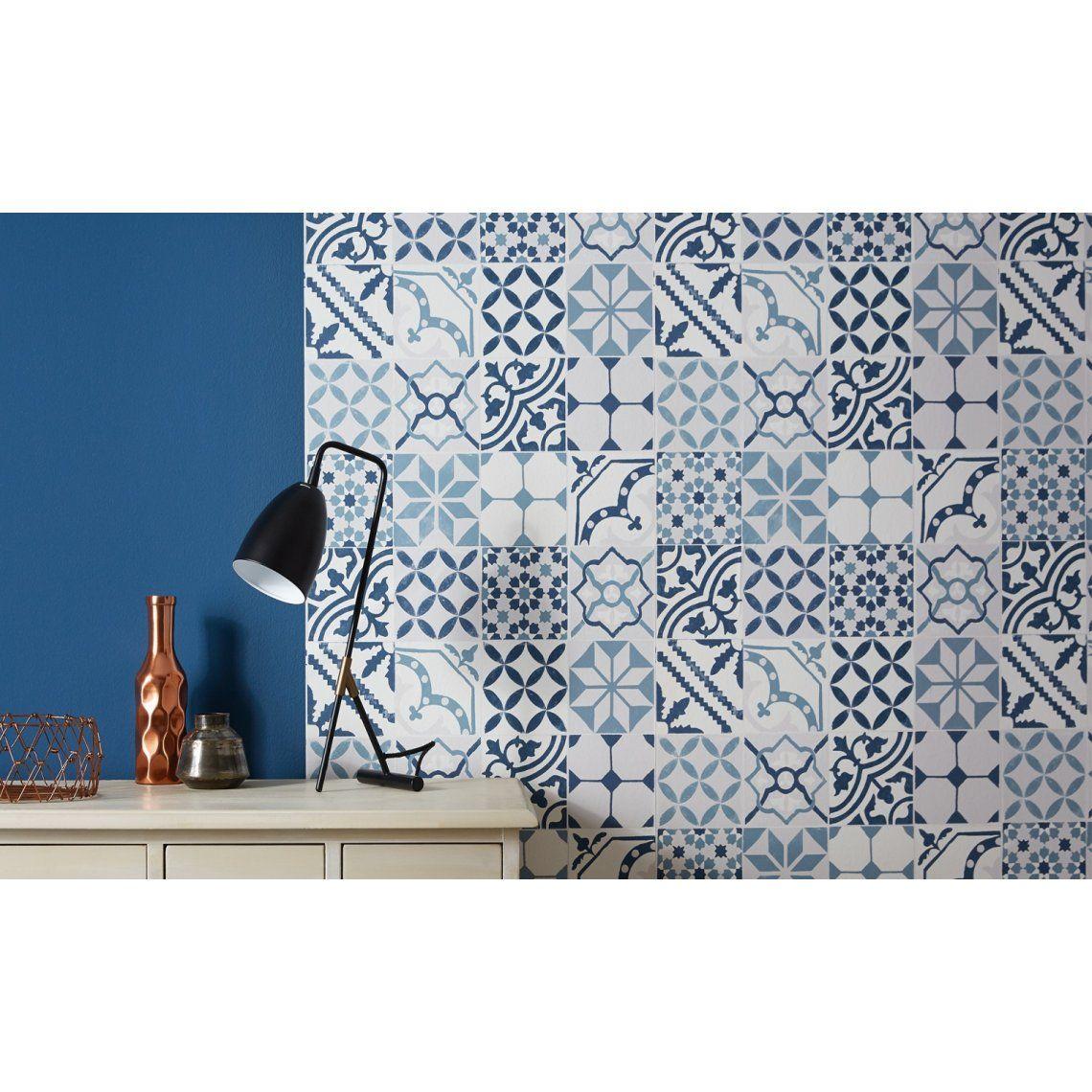 papier peint carreaux vinyle sur intiss imitation carreaux de ciment bleu peinture et. Black Bedroom Furniture Sets. Home Design Ideas