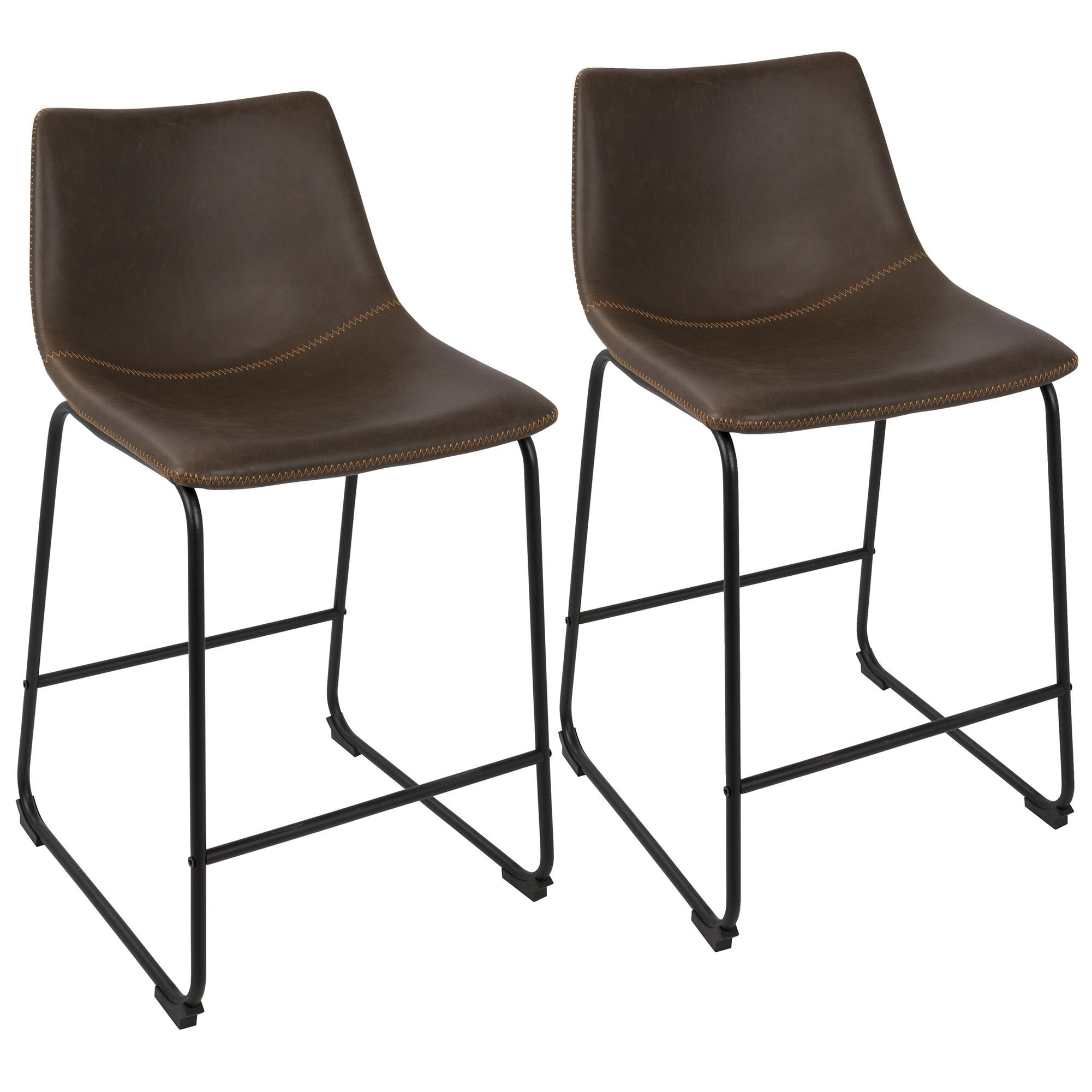 LumiSource Duke Industrial 26 inch Counter Stool Set of 2 Grey