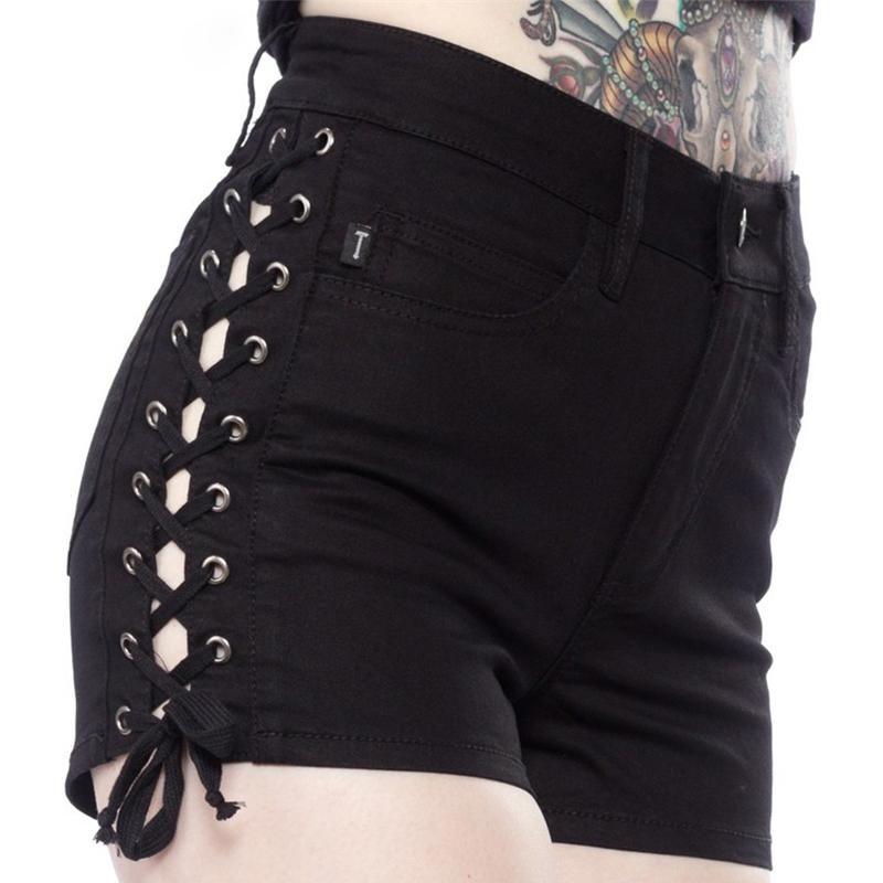 Women's Lace Up Denim Shorts High Waist #shortslace
