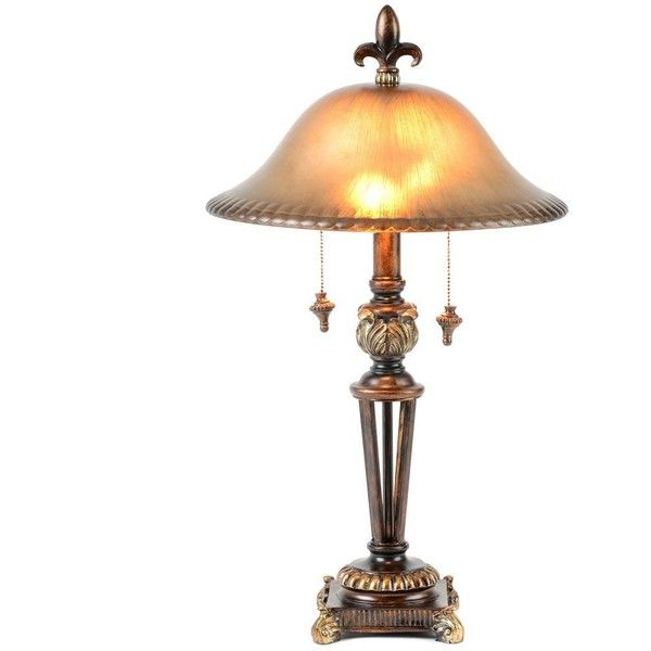 Pull Chain Table Lamp Prescott Bronze Glass Table Lamp $39 ❤ Liked On Polyvore