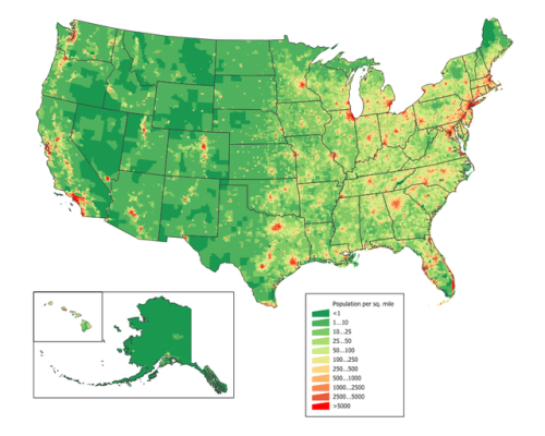 Population Density Map of the US Maps United States Pinterest