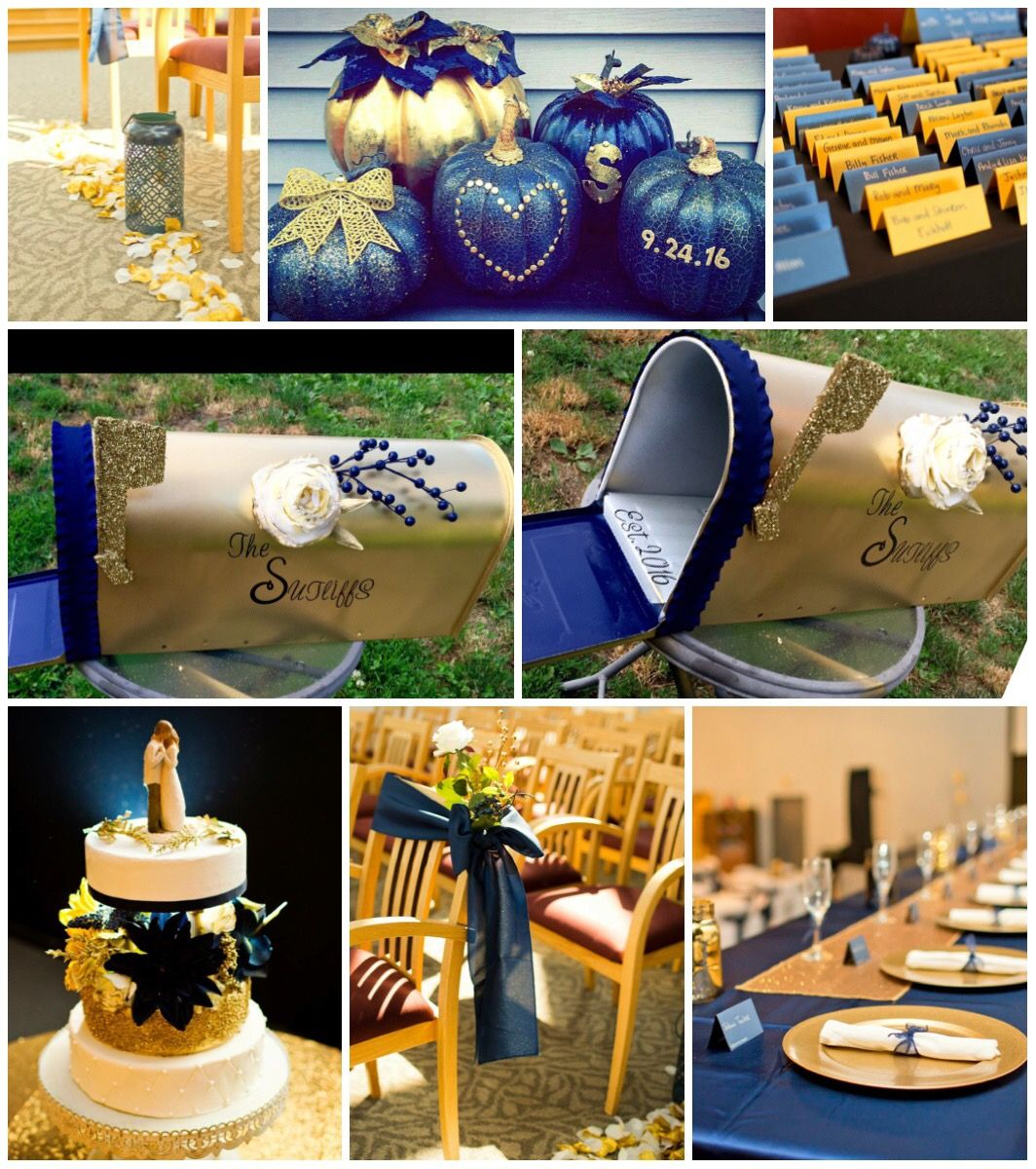 Do it yourself bride diy navy and gold fallseptember wedding spray painted walmart pumpkins transformed a yard sale mailbox into a wedding card holder card stock handwritten names cards homemade fake styrofoam solutioingenieria Image collections