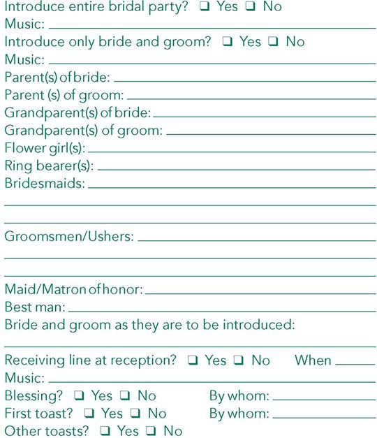 Wedding Reception DJ Checklist