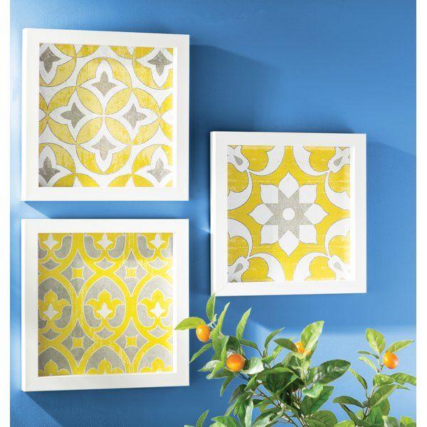 Bungalow Rose Tuscan Tiles 3 Piece Framed Graphic Art Print Set on ...
