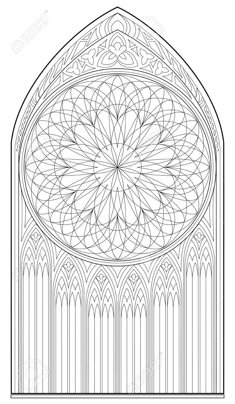 Black And White Page For Coloring Drawing Of Medieval Gothic Window With Stained Glass And Rose Worksh Gothic Windows Colorful Drawings Monkey Coloring Pages