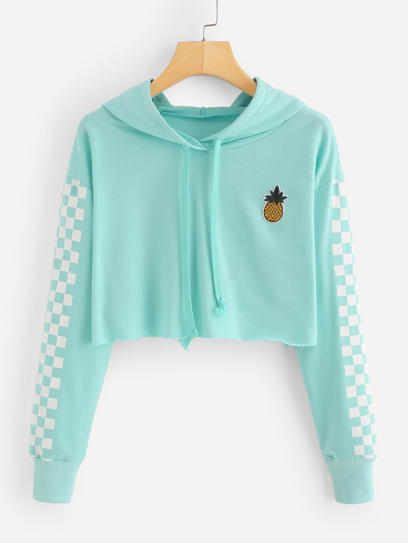 e4594374993c9 Pineapple Embroidered Gingham Crop HoodieFor Women-romwe. Pineapple  Embroidered Gingham Crop HoodieFor Women-romwe Crop Top ...