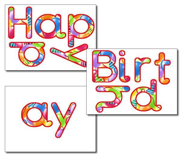 display letters happy birthday