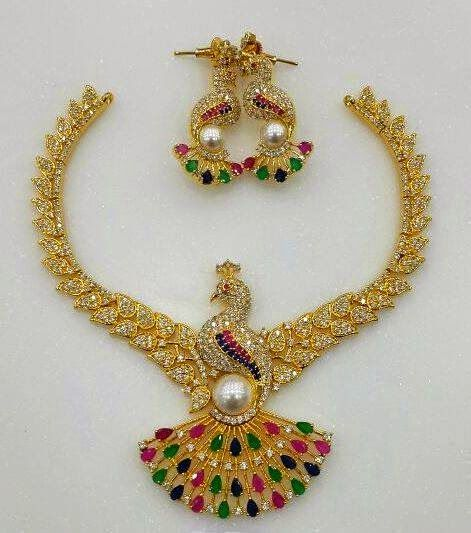 Indian Gold Jewellery Necklace Designs With Price: Designer Peacock Golden CZ Stone Necklace
