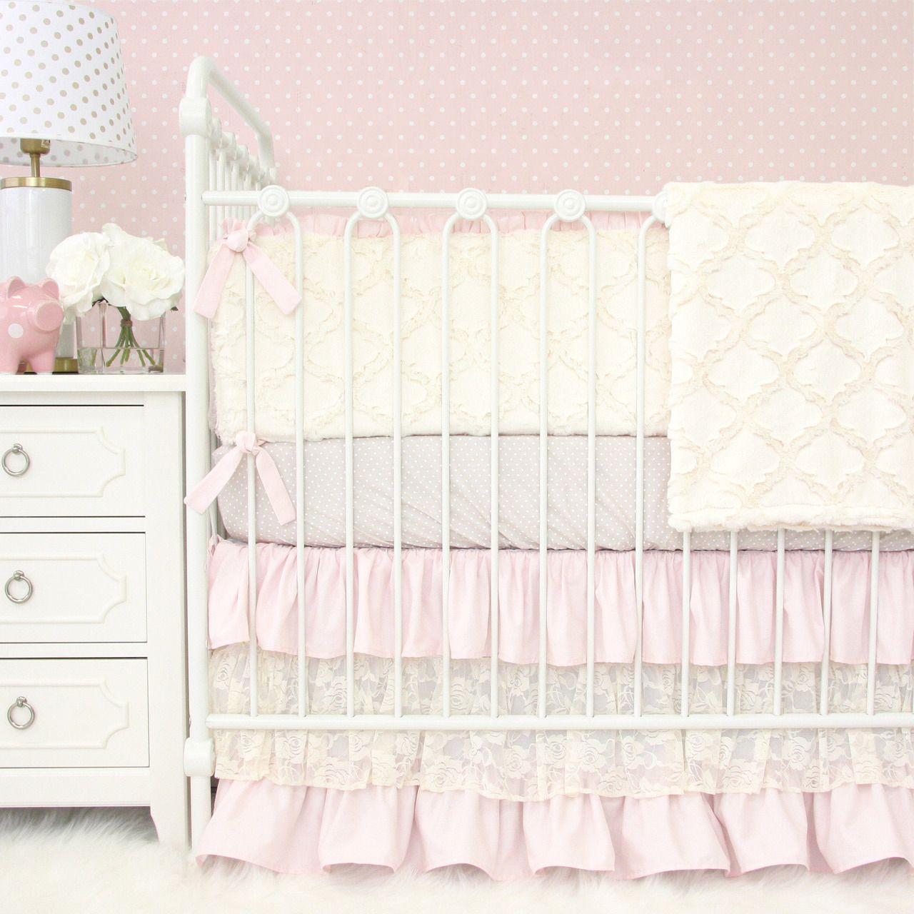 Blake\u0027s Vintage Pink Linen \u0026 Lace Crib Bedding | Baby girl crib ...