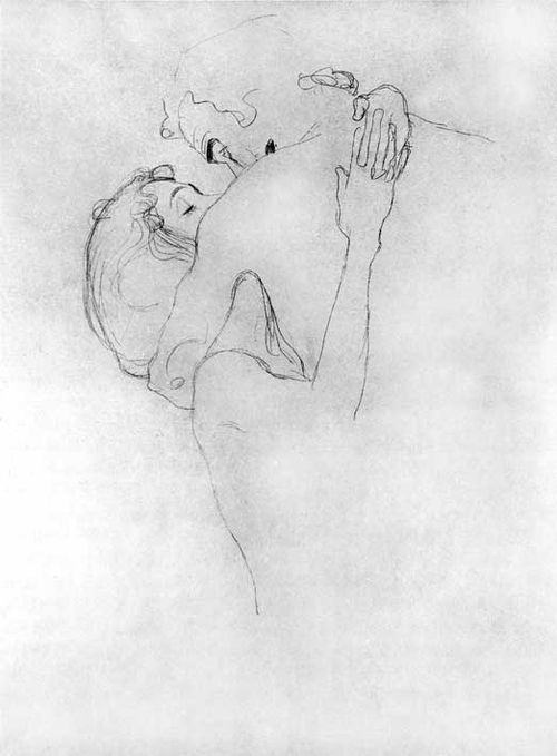 gustav klimt upper portion of two lovers