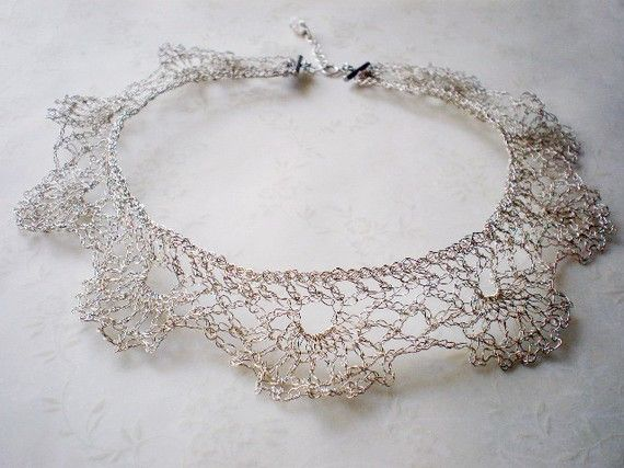 Crocheted lace wire necklace