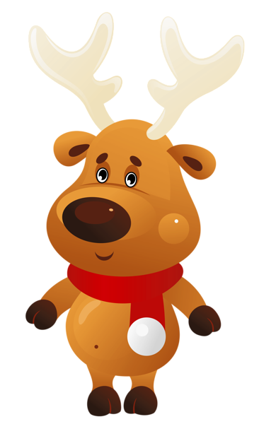 cute christmas reindeer with red scarf png clipart
