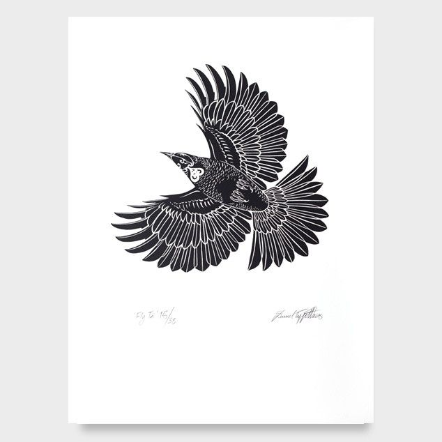 Fly tui screen print by daniel tippett all art prints nz art prints art framing design prints posters nz design gifts endemicworld