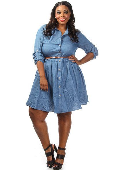 67620fde656 Plus Size Denim Skater Dress