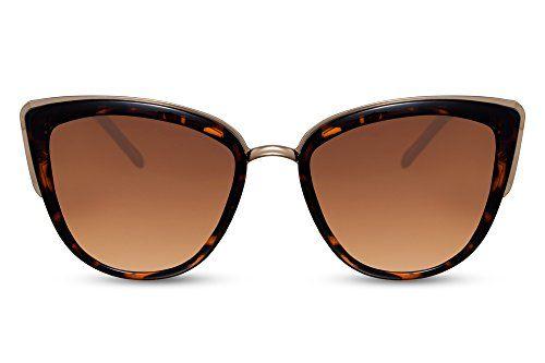 66cf143eecd42 Cheapass Lunettes de soleil Oversize Style yeux de chat Lunettes Designer  Monture Marron Métallique Verres Marron