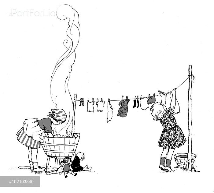 'They that wash on Monday' (children hanging and washing