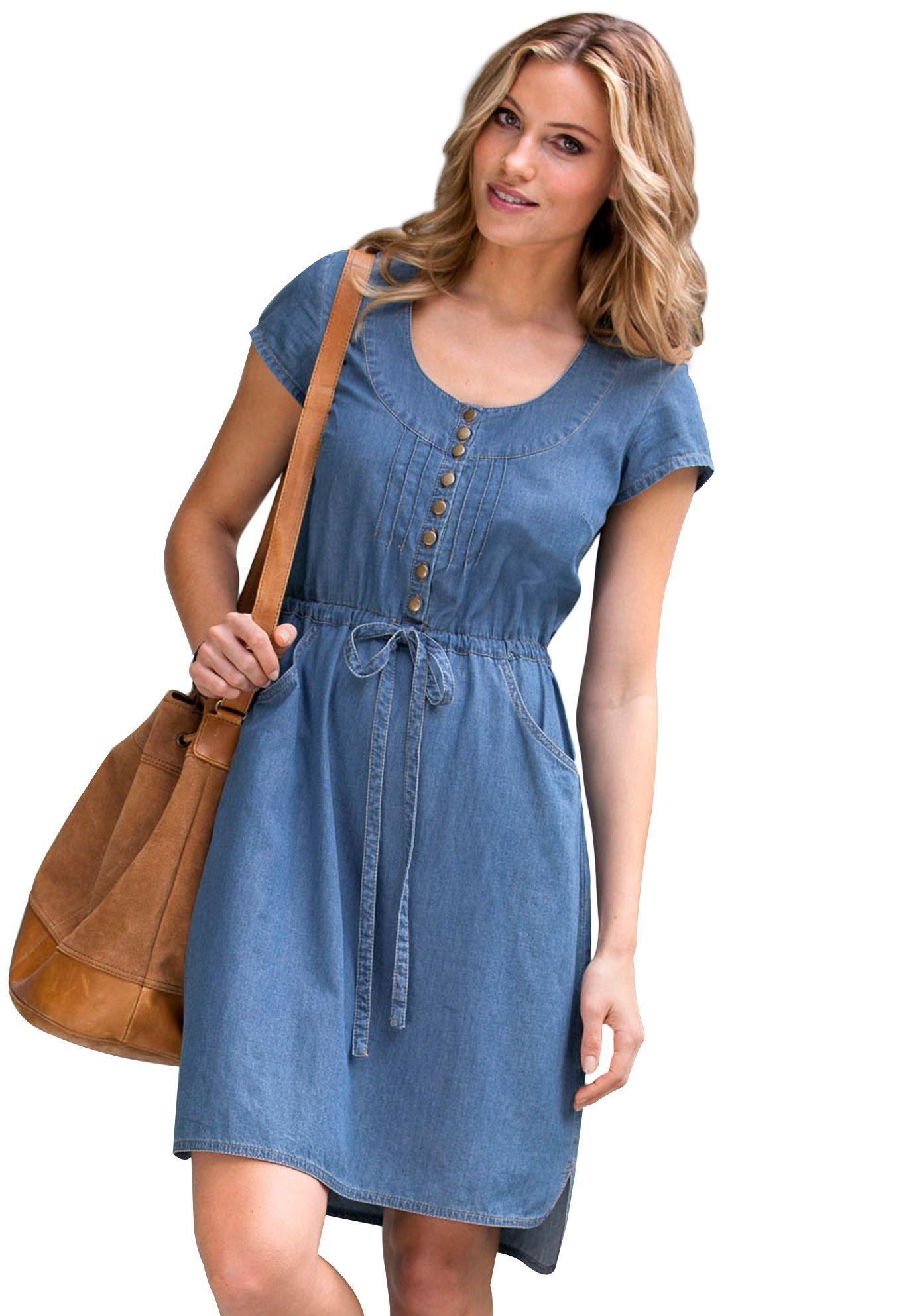 Dress, denim, empire waist, by Ellos®   Plus Size Dresses & Skirts ...