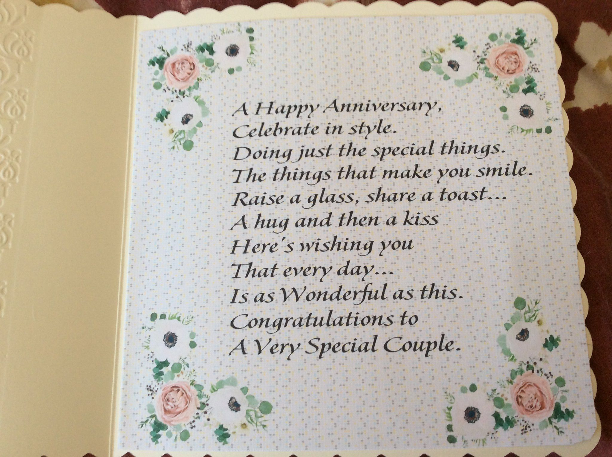 Verse Inside The Floral Anniversary Card Anniversary Verses Anniversary Cards Wedding Anniversary Cards