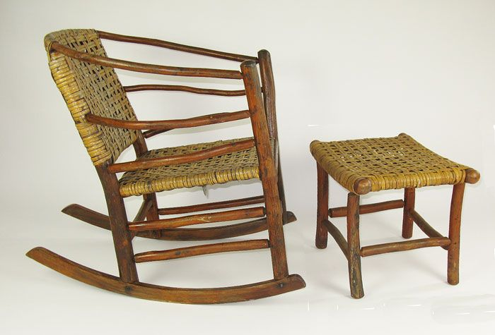 Old Hickory Chair And Footstool