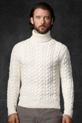 Mens White Cableknit Turtleneck Sweater 2014 Inspiration