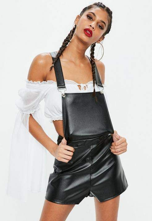 4fad664afa Black Faux Leather Dungaree Romper  regular length mini
