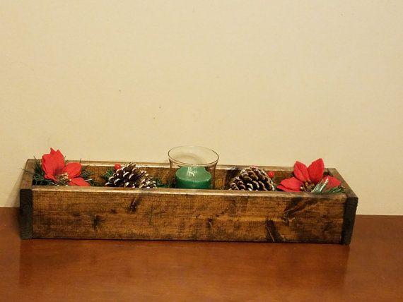 Rustic Reclaimed Wood Centerpiece Box Decor di UpfinishedFurniture