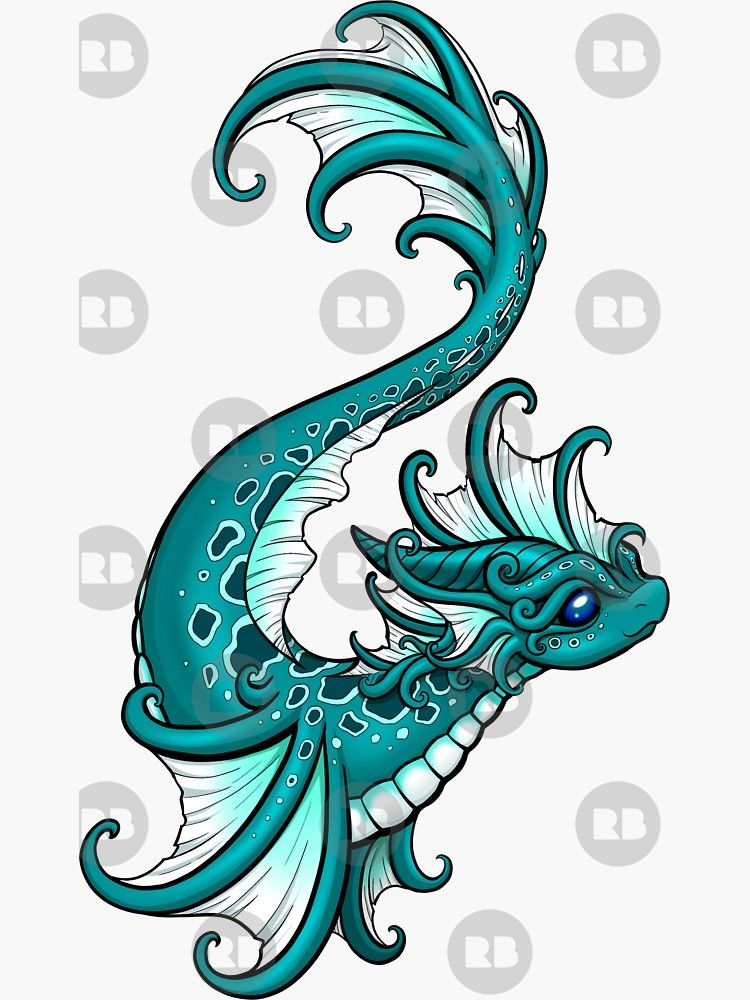 Water Dragon Sticker Dragon Artwork Cute Dragon Drawing
