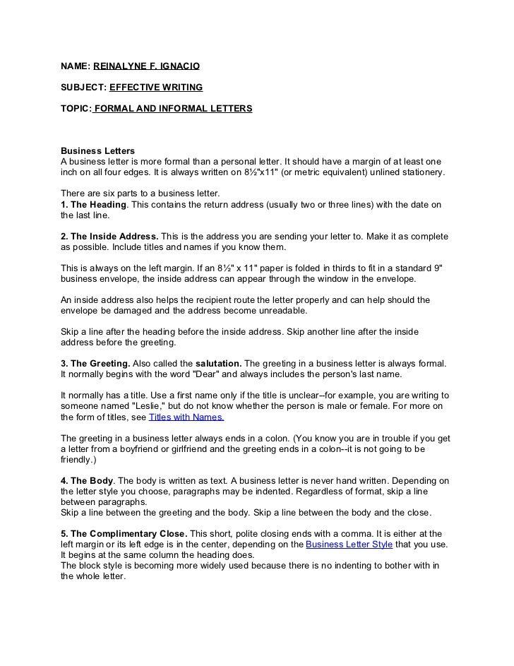 Formal and informal letter Cover letter for resume