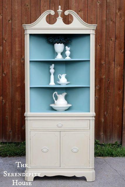 New White Corner Hutch Cabinet