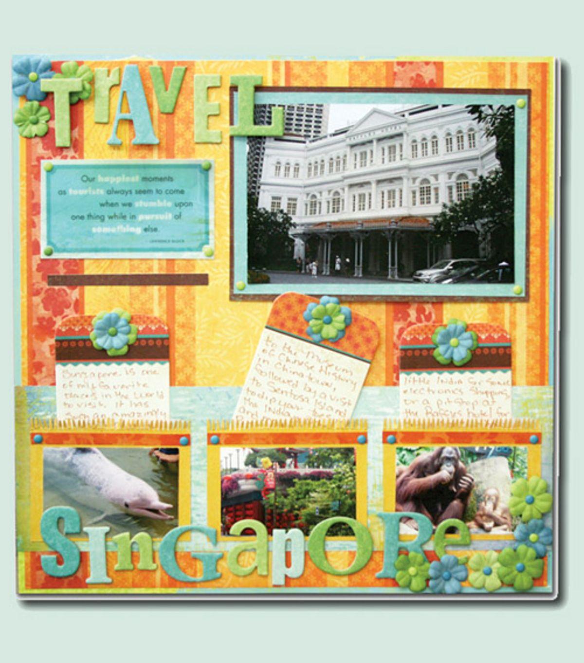 Singapore Scrapbook Page Travel journal scrapbook