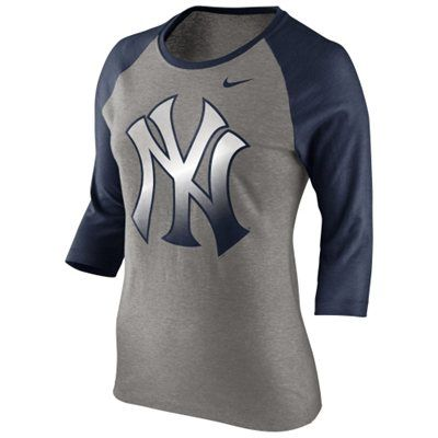 ff84e98041913 Nike New York Yankees Ladies Gradient Raglan Three-Quarter Length T ...