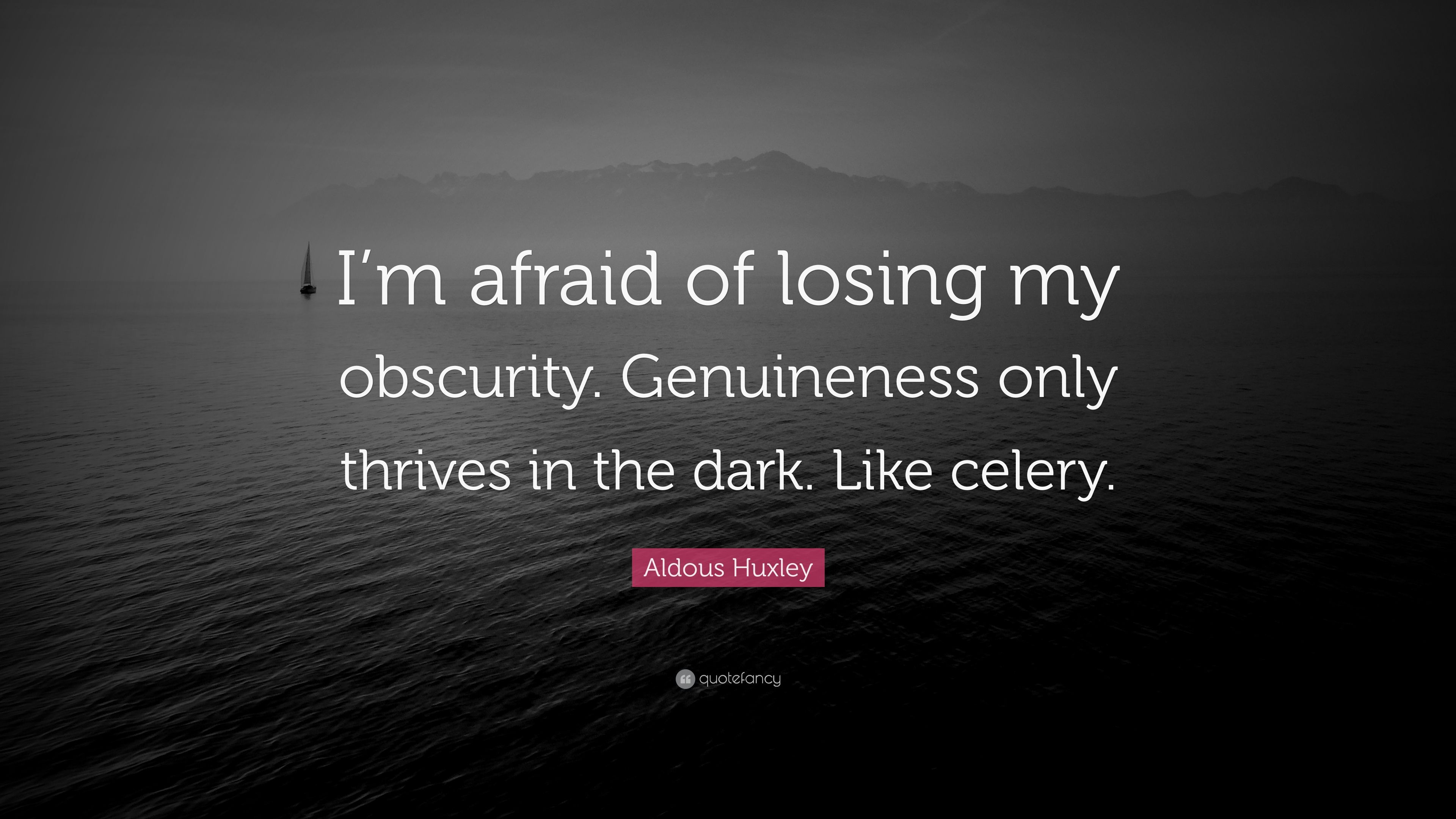 "Aldous Huxley Quote ""I m afraid of losing my obscurity"
