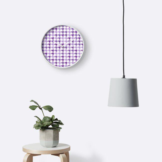 AFE Violet Houndstooth Pattern Clocks. #purple #ultraviolet #pantonecolors #pantone2018