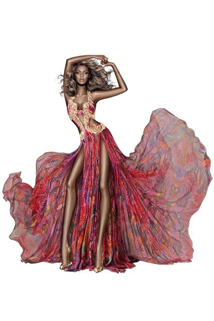 Roberto Cavalli releases a sketch of one of the costumes worn by Beyoncé Knowles during her current The Mrs Carter Show world tour.