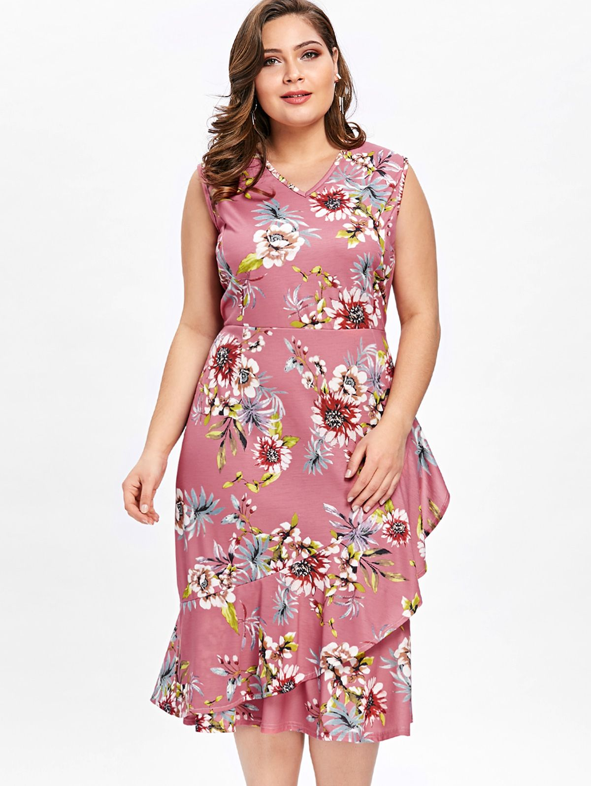 8ac078427d6 Up to 60% off. Free shipping worldwide.Plus Size Sleeveless Ruffle Overlap  Hawaiian Dress. plussize  plussizefashion  plussizemodel  dress   plussizedresses ...
