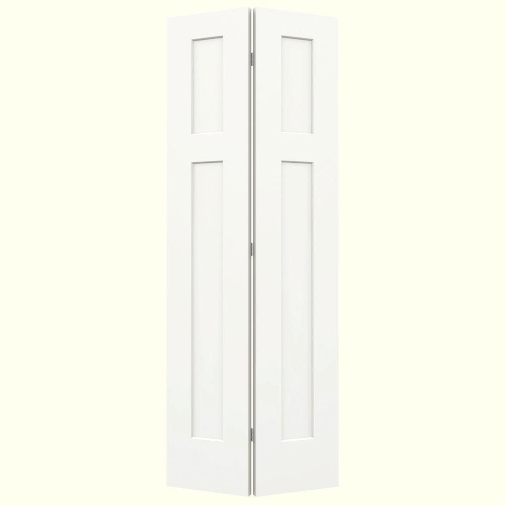 Craftsman White Painted Smooth Molded Composite MDF Closet Bi Fold Door THDJW160200106    The Home Depot