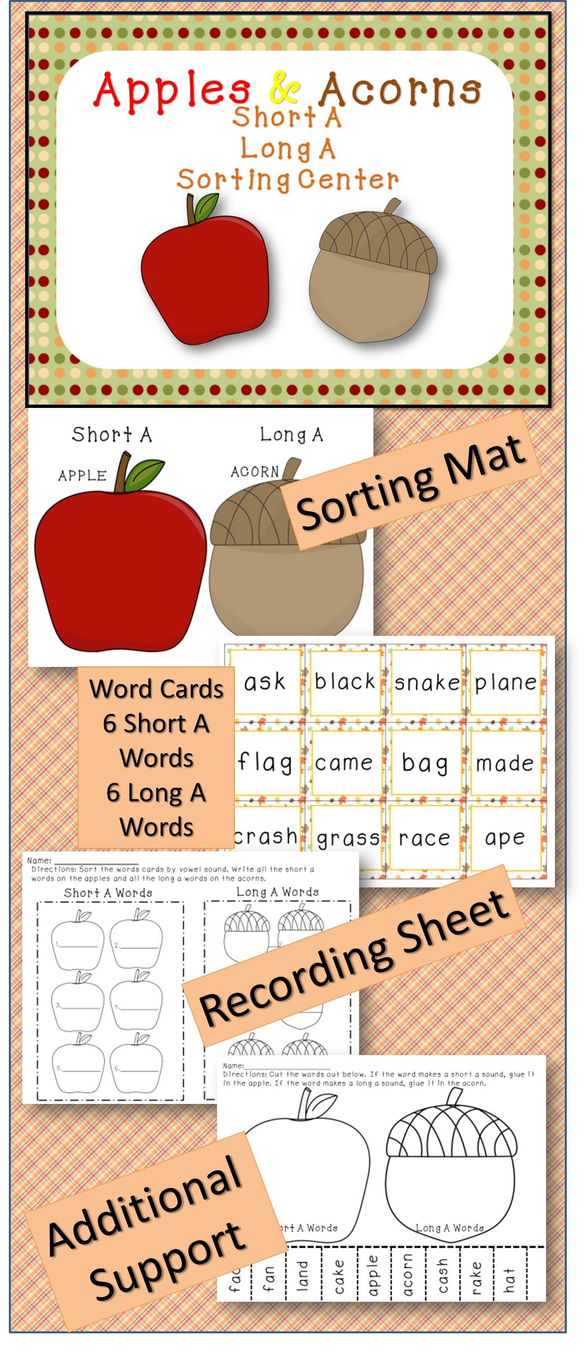 Apples & Acorns Short and Long Vowel Sorting Center