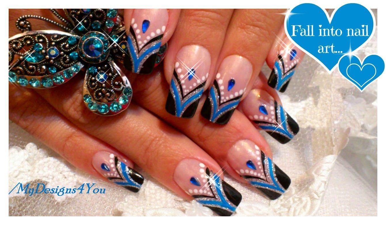 Blue French Tip Nail Art | Abstract Nail Art Design Tutorial ...
