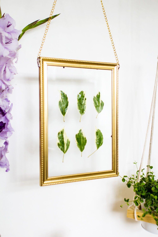 Diy Hanging Gold Frame Leaf Art Framed Leaves Leaf Art Frame
