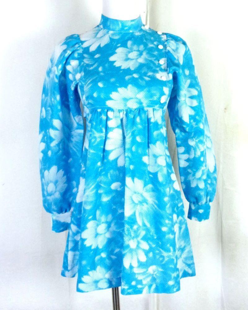 bee3b4564eb vtg 60s Peggy Barker POP ART Blue White Dot Matrix Textured Daisy Dress  Mini 35