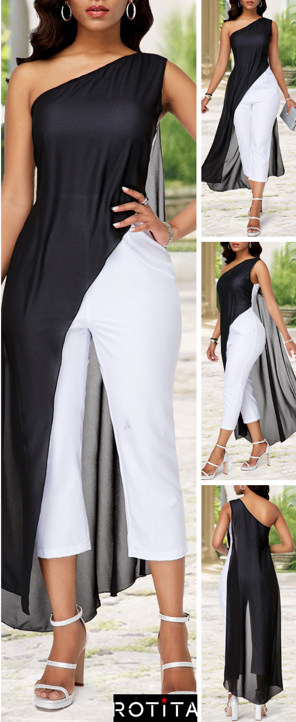One Shoulder Color Block Chiffon Overlay Jumpsuit -   17 cute casual style ideas