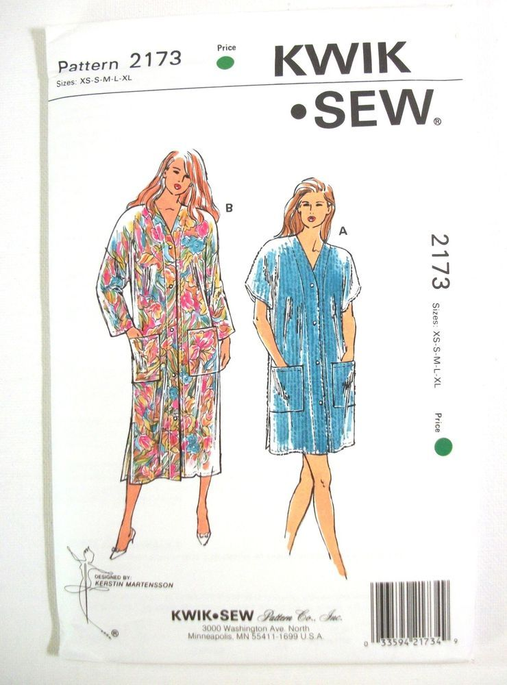 Kwik Sew Vintage Pattern Misses Robes 2173 XS through XL New Uncut ...