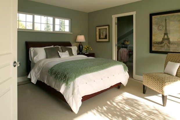 Very green bedroom that was recently repainting. Want to know what went into it? Click on the image. #painting #bedroom